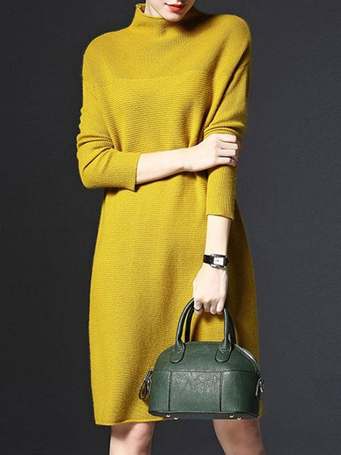 55dd7aa81c1e Dress,Green,Red,Yellow,Knitted,Long Sleeve,Casual,Shift,Knitted,18~24,25~34,35~44,Stand  Collar,Mid-weight,Daytime,Going out,Daily,Solid,Stretchy,Plus Size ...