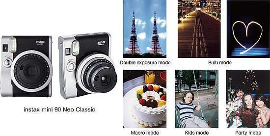 """The new Fujifilm Instax Mini 90 Neo Classic is a high-end instant film camera. """"The mini 90 stands apart from the previous 'cute' image that instax had built up in the past and features a variety of shooting modes for various scenes and applications for users to enjoy,"""" Fujifilm says."""