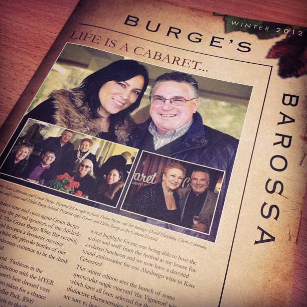 Our Burge's Barossa newsletter with Grant & Kate Ceberano on the front.
