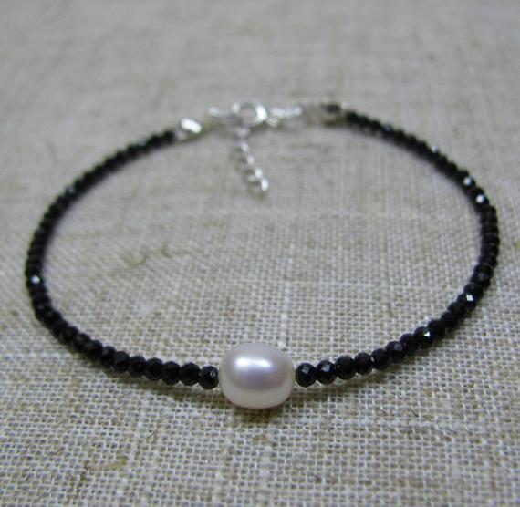 black spinel bracelet fresh water pearl jewellery gift for her jewellery