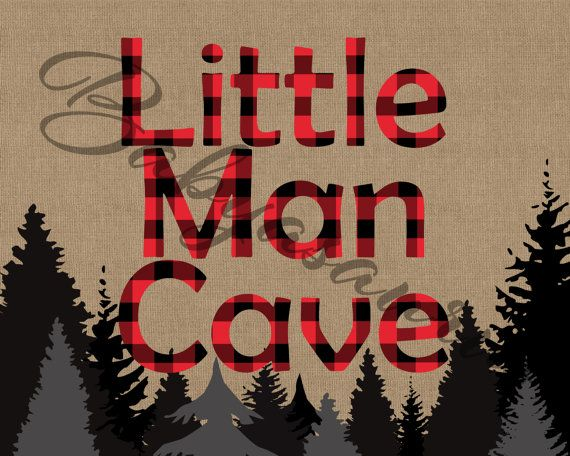 Little Man Cave  Rustic Lumberjack Buffalo Plaid by Babyasaurus