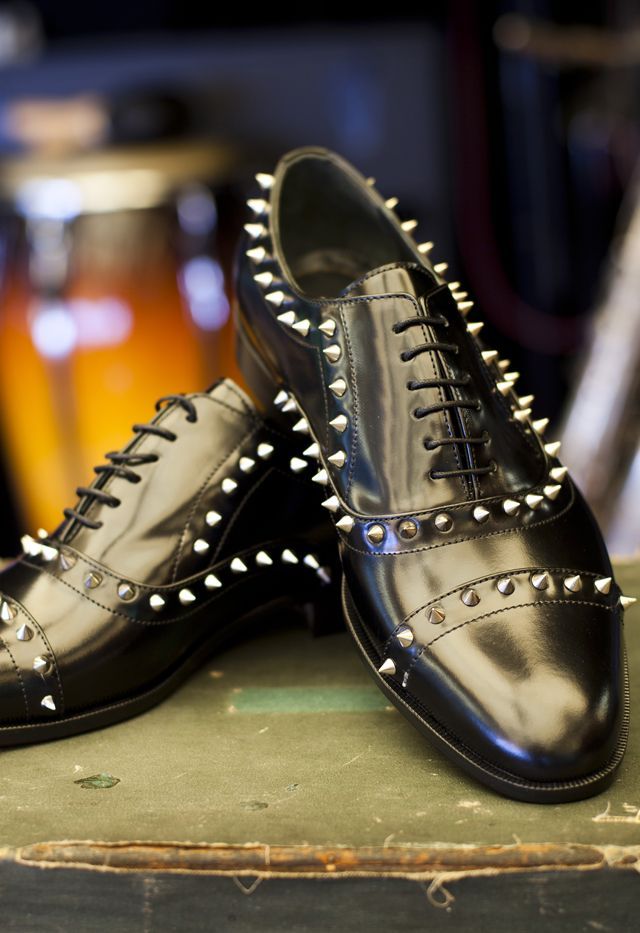 PAUL PARKMAN spiked studded black oxford shoes for men