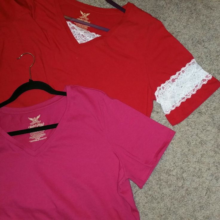 A different way to make a longer sleeve.  Cut the sleeve in half, then sew lace in the middle of where you cut.   Pink shirt is before and red is after.