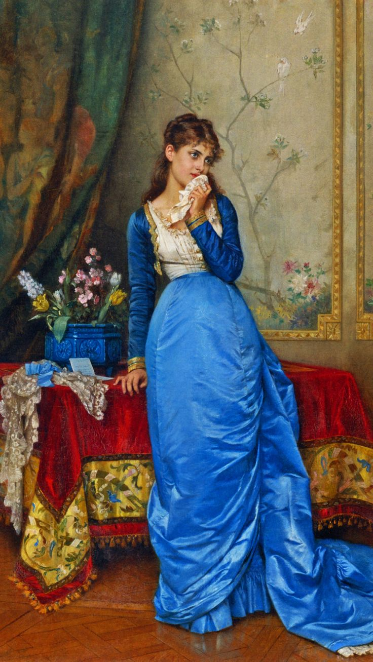 """The Letter"" -- 1879 -- Auguste Toulmouche -- French -- Oil on canvas -- Private collection."