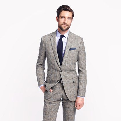 Ludlow suit jacket with double vent in Prince of Wales glen plaid English wool