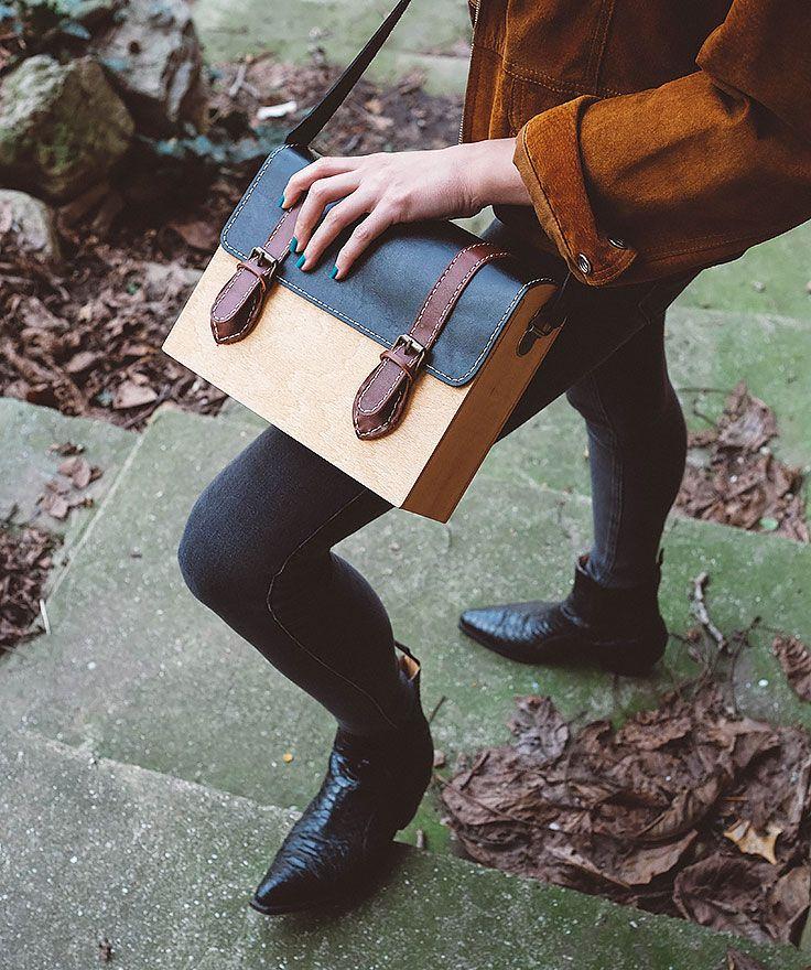 GRAV GRAV - Black/Brown Wood Bag $140