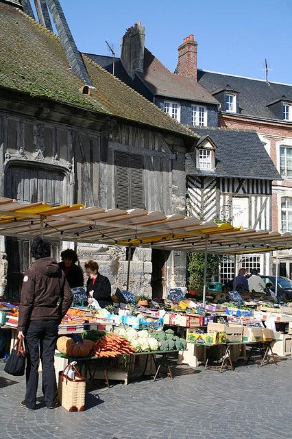 Honfleur Market. Fond memories here. we sat and watched the world go by at the harbourside, enjoying fine wine and of course the very best Moules Frites! :)