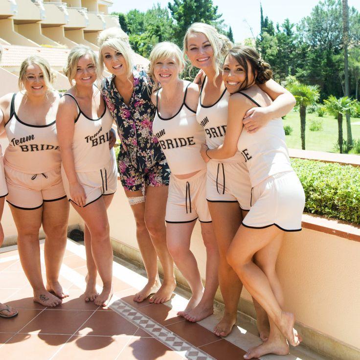 Team Bride! james-sophie-vernon-images-by-nickie-davis-blush-photography-34 #wedding #abroad #Portugal #destination #summer  #bridesmaid #pyjamas