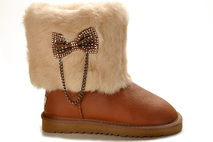 UGG 5825 Orange Metallic Classic Short Boots Rabbit Fur