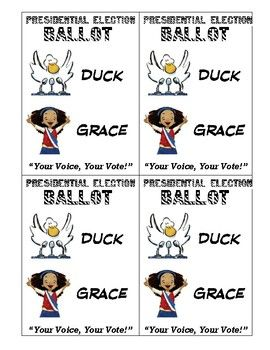 """Lets teacher our students the importance of making an educated decision when we vote for president. Using the books """"Grace for President"""" and """"Duck for President"""" along with these fun election activities is sure to be a hit in your classroom. In this bundle you will get..1.) Ballot Voting Cards2.) The Debate- a comparing and contrasting worksheet3.) Candidate facts page- write 3 facts about each candidate (see preview photo)4.) I Voted Stickers - print on address labels5.) Voter…"""