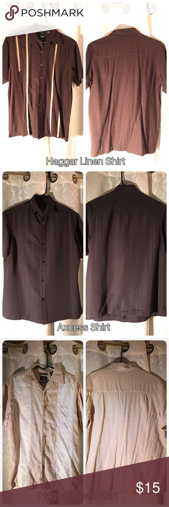 Charlie Sheen-esque shirts! 3 Shirt bundle 3 Shirt bundle. These fun shirts all remind me of Charlie Sheen! My fiancé wore these when we went to the Bahamas. All lightly worn and size medium. All brown tones. Axcess Shirt- 65% rayon 35% polyester. Haggar Shirts- 55% Linen 45% rayon Haggar Shirts Casual Button Down Shirts