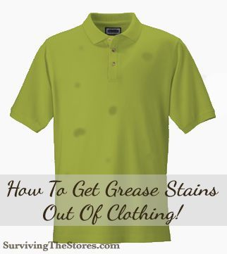 Dont throw away shirts with grease stains before you read this!!  Its so easy to get rid of the stains with just one very inexpensive solution!  I now can wear the other half of my wardrobe again!!