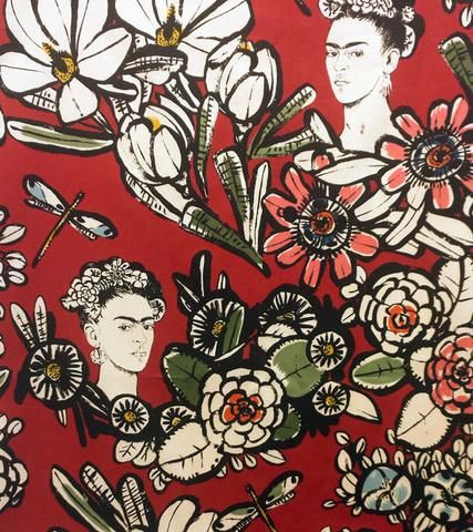 Frida Fabric | Alexander Henry | Folklorico | Mexican | Day of the Dead | Dia de los Muertos | Floral | Frida Kahlo | Red Material | Faces