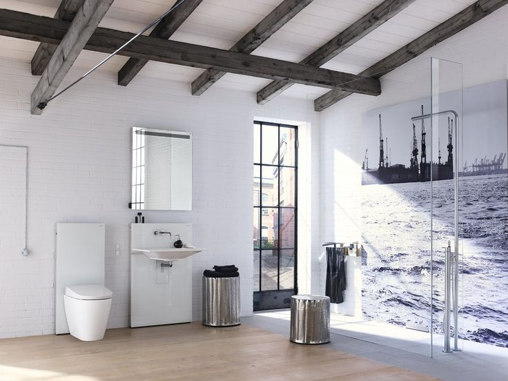 A mediterranean bathroom ambiance in the center of a big city? With wood and lots of white you can conjure up a bright mood  that is reminiscent of holidays.  #AquaCleanSela #GeberitAquaCleanDesign http://www.geberit-aquaclean.com/en_uk/geberit_aquaclean/bathroom_inspirations/geberit_aquaclean_design_bathrooms.html