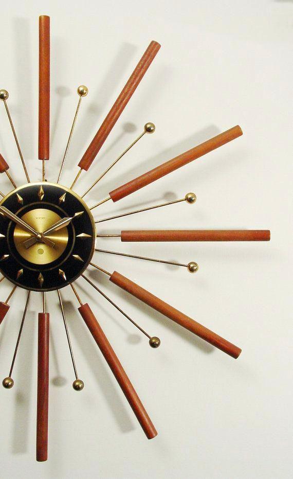 Starburst Retro Wall Clock Silver Starburst Wall Clock Gold Starburst Wall Clocks Aus Mid Century Modern Wall Clock Mid Century Clock Mid Century Modern Clocks