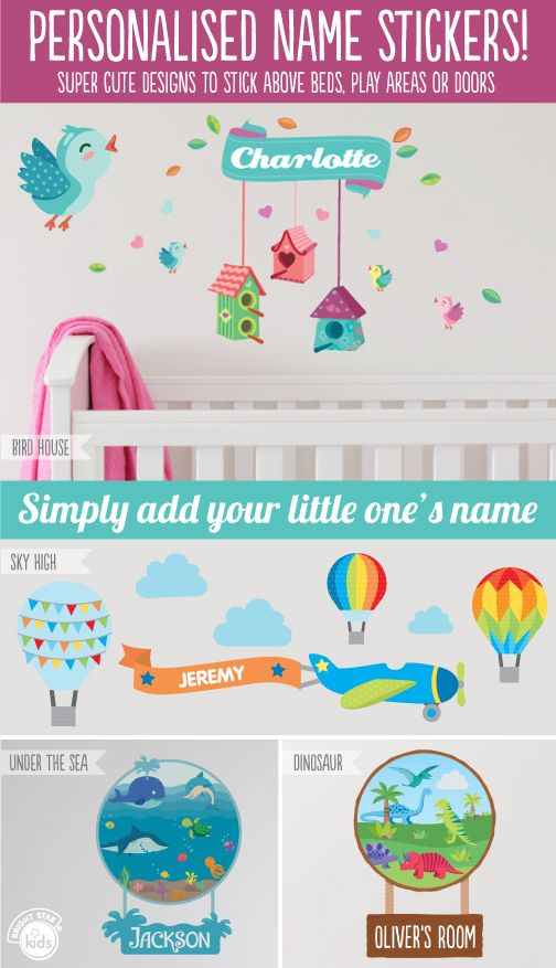 We just love our new personalised Name Stickers! Check them out here: http://www.brightstarkids.com.au/wall-art/personalised-wall-stickers #namestickers #personalised #wallstickers