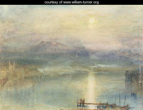 The Lake of Lucerne, Moonlight, the Rigi in the Distance, c.1841 - Joseph Mallord William Turner - www.william-turner.org