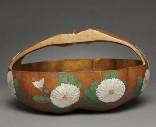 Gourd Basket with Chrysanthemum Design. 1700s, Japan attributed to Ogata Korin (Japanese, 1658-1716).  Cleveland Museum of Art