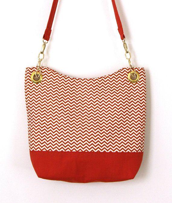 Orange Chevron Handbag Orange Chevron Bag by CatInTheBagCreations