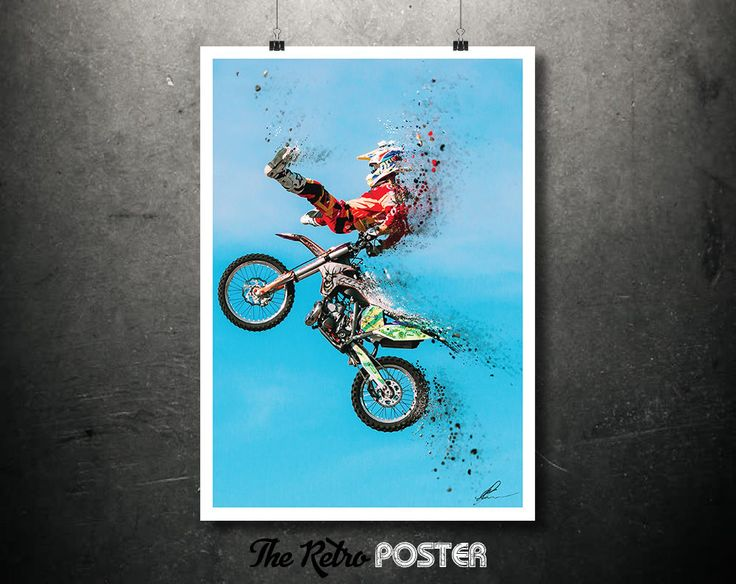 Freestyle Motocross - KTM,  Extreme Sports, Dirt Bike, Motorbike Gifts, Motorcycle Art, Dispersion Photography, Digital Art Print, Tourism by TheRetroPoster on Etsy