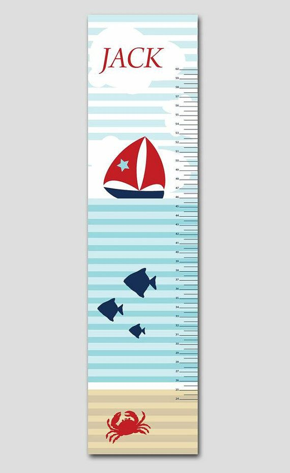 Personalized Fish and Boat Nautical Growth Chart-Premium Poster Paper, Growth Charts for Boys, Nursery and Children Decor