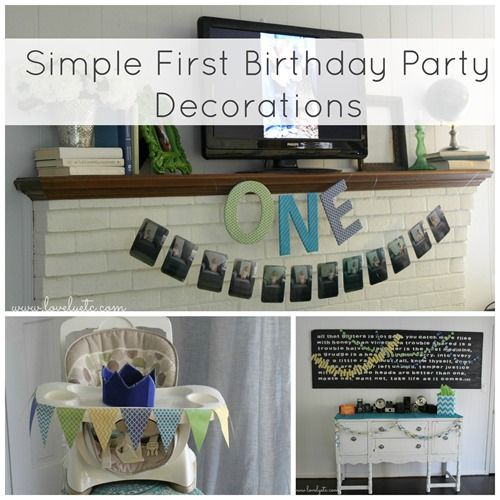 You don't have to have to spend days crafting up elaborate decorations to create a cute first birthday party.  Keep it simple and cute with these easy ideas.