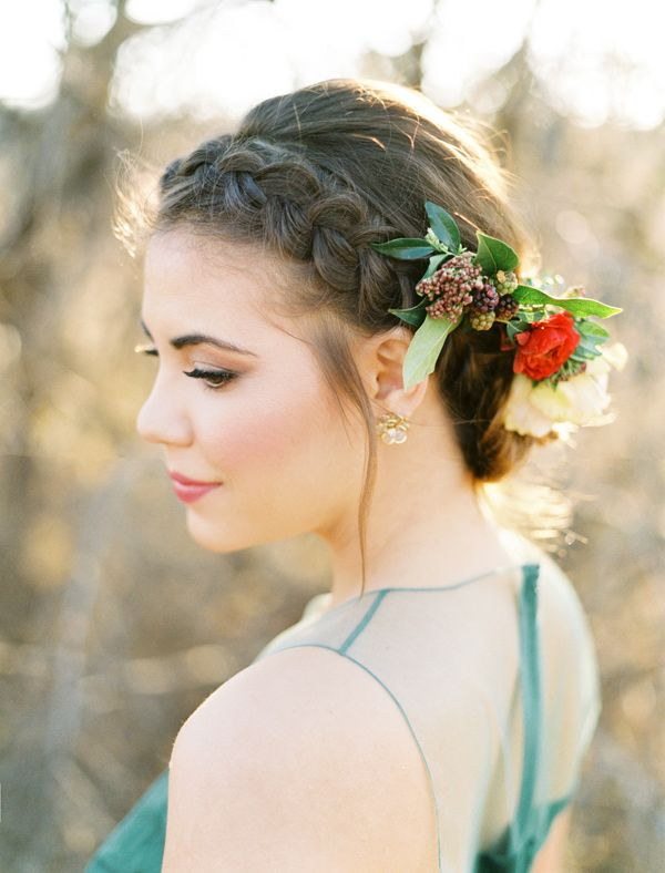 braided wedding hair - photo by Ben Q Photography http://ruffledblog.com/hunter-green-and-berry-engagement-session #bridalhair #braids #updo
