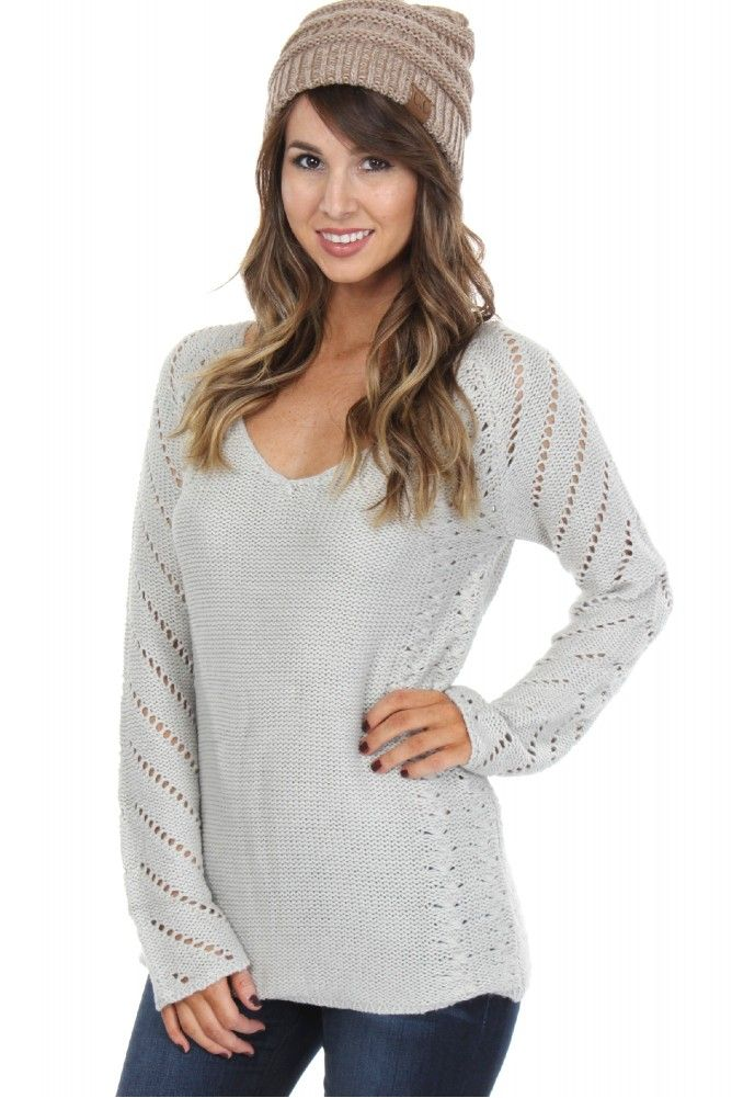 Open Knit Pullover Grey ($32.99) #sophieandtrey #weshipfree #fashion #trend #fall #shopnow #online #boutique #november #thanksgiving #fallinso #inspo #cuteoutfit #ootd #preppy #casual #dressy #formal #social #homecoming #prom #fashionable #weshipfree #freeshipping #sophieandtrey
