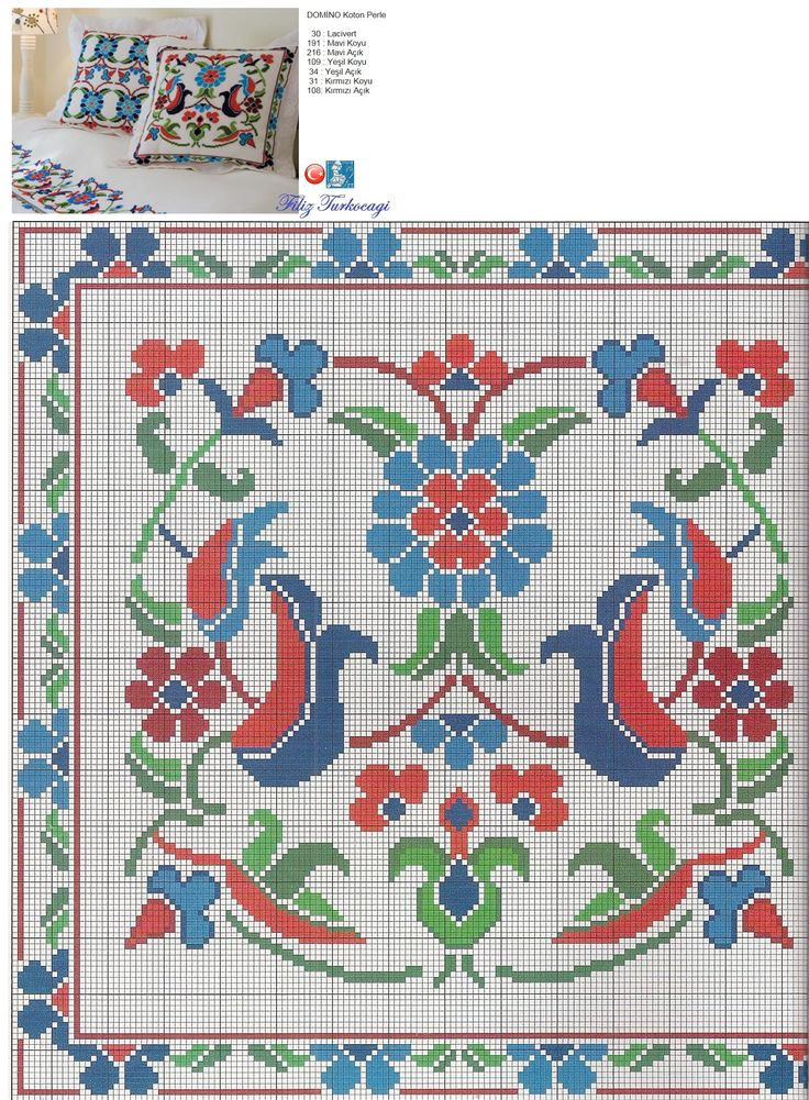 Yastıklardan öndekidir, anlayacağınız üzere :) Designed and stitched by Filiz Türkocağı... ( İznik Chini )