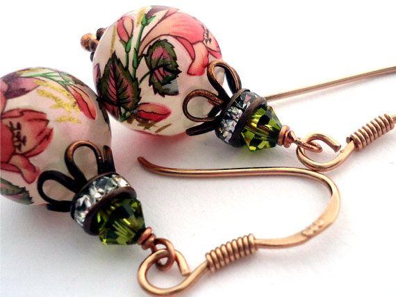 Rose Gold  Japanese Tensha earrings rose gold by floretteboutique, $27.00