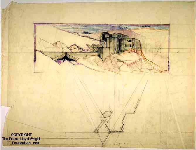Frank Lloyd Wright, Wellington and Ralph Cudney house. Sometimes drawings that are done for a purpose are as, if not more interesting than those done for the sake of the drawing itself.