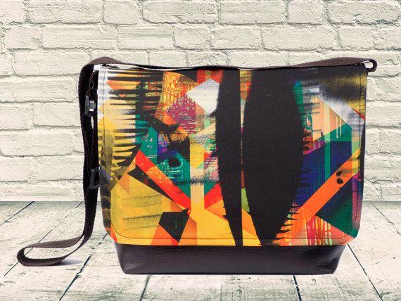 Print Bag, School Bag, Colorful Bag, Eco Friendly Bag, Crossbody Messenger, Unisex Bag, Bright Bag, Satchel Bag, Sling Bag, Boho Chic Bag
