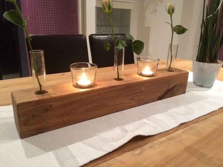 Kerzen - Teelicht, Eiche, Tischdeko, holzdeko, Vase, Holz - ein Designerstück von Massivholz-Kai bei DaWanda