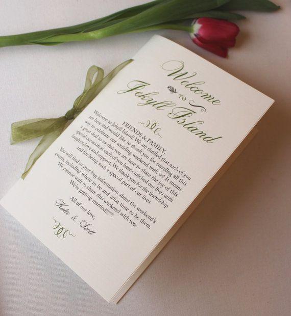 Green Wedding Program / Welcome Wedding Booklet / Moss Green Wedding Program Sample