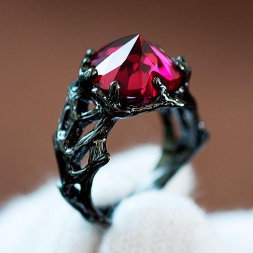 Solitaire Style Heart Ruby 925 Sterling Silver 'The Black Queen' Women's Designer Engagement Ring