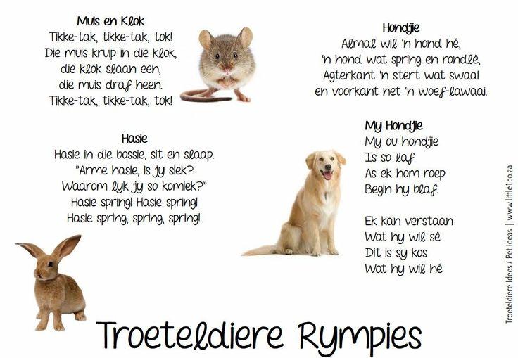 Troeteldiere Rympies  Skoolgee  Rympies  Kids poems