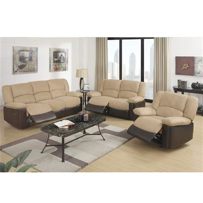 motion living room furniture cozy two tone rocker recliner amp motion sofa 3 pc set 15640