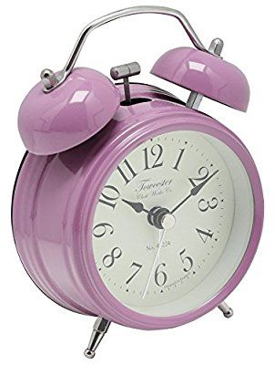 M&Co Classic Traditional Style Vintage Analogue Double Bell Desk Mini Alarm Clock Heather One Size