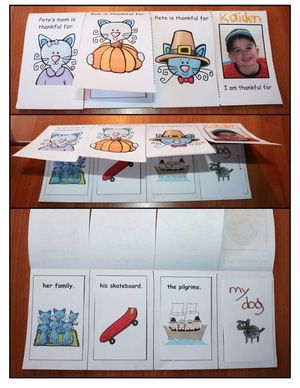 """Thanksgiving Activities: A super-cute """"flip the flap"""" craftivity to go along with the story, """"Pete The Cat's 1st Thanksgiving."""" Patterns come in BW & color so you can easily make a sample to share with your kiddos. The last flap is what the student is thankful for. The """"top"""" of the flap can be a self portrait, a photograph or 1 of 8 graphic choices. :-)"""