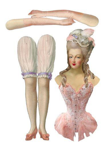 Marie Antoinette paper doll with Victorian underwear.