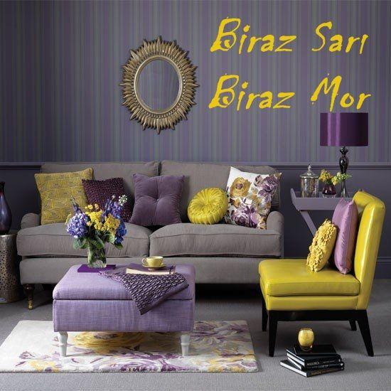 mor ve sarı salon dekorasyon