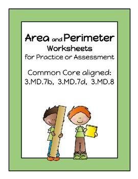 These 6 two-sided worksheets can be used as practice or assessment of third grade Common Core standards relating to calculating and using area and perimeter. Clip art on cover available at:http://frompond.blogspot.com