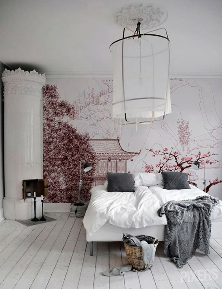 Cherry blossoms in the bedroom.
