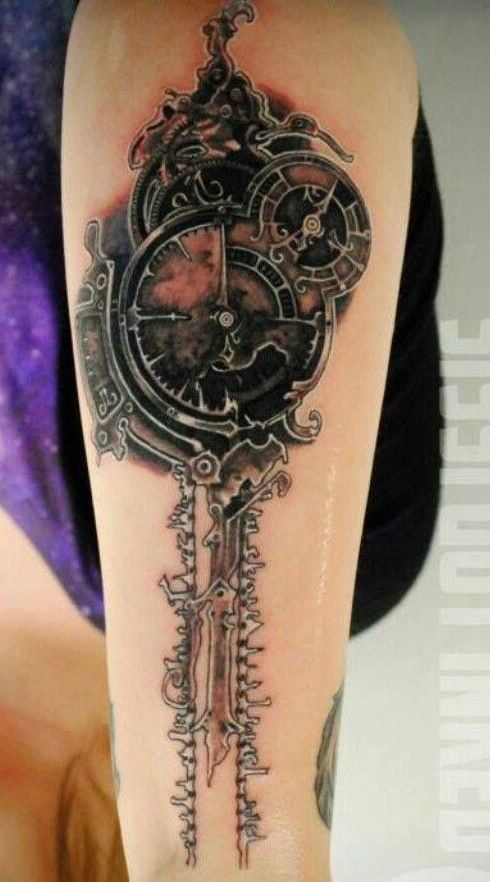 Steam-punk clock tattoo. I know nothing about tattoos, but this looks good to me. Nice rendering of the original clock picture.