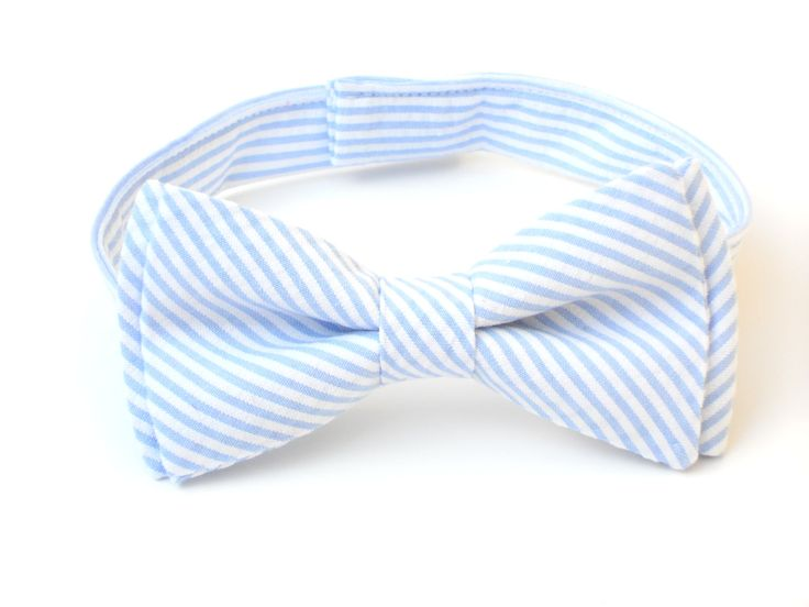 Blue seersucker bow tie for boys toddler bow tie in by LilGents, $18.00