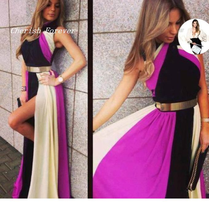 Free Shipping New Design Multi Colors Rainbow High Neck Side Slit Gold Metal Belt Long Chiffon Evening Dress Women Gown WL307