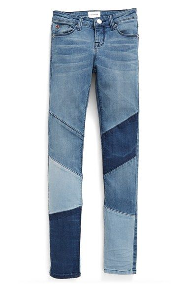 Free shipping and returns on Hudson Kids 'Stevie' Patchwork Skinny Jeans (Big Girls) at Nordstrom.com. Patchwork denim in a trio of washes adds to the cool-girl vibe of stretch-denim skinny jeans featuring perfectly faded and whiskered details.