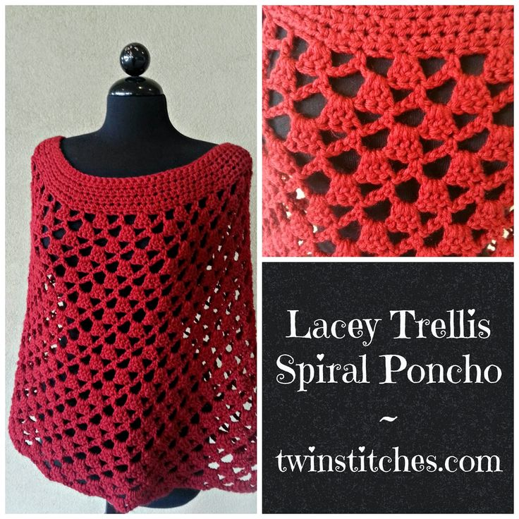 Lovely isn't it? #crochet #diy Tw-In Stitches: Lacey Trellis Poncho - Spiral Version - Free Pattern | Tw-In Stitches