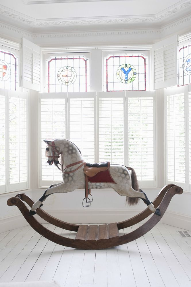 This vintage rocking horse would be a great addition to the Darling's nursery, and I adore the colours