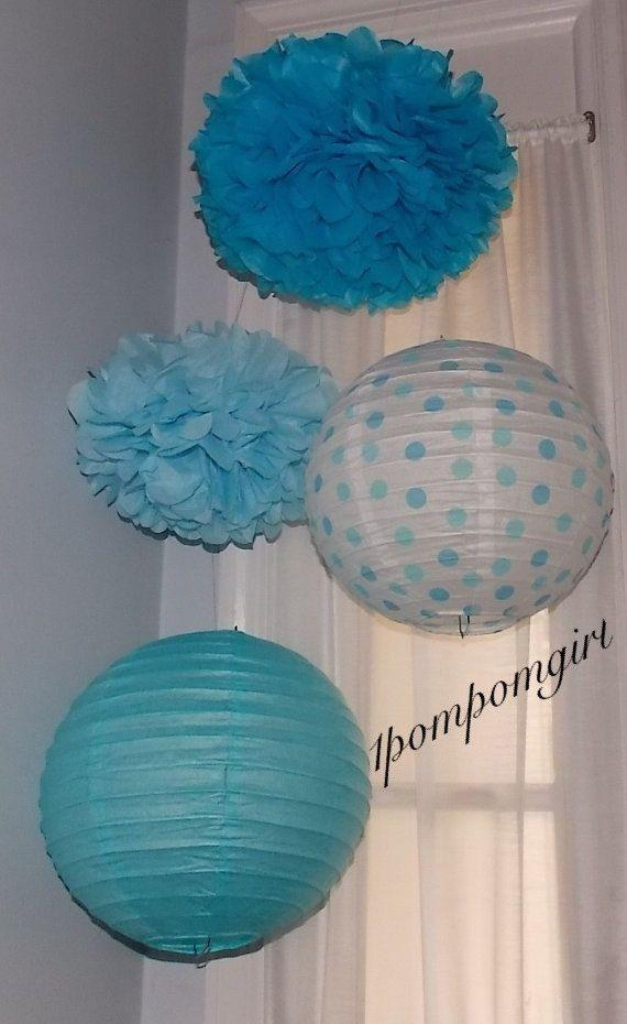Winter Wonderland - 2 Tissue Paper Poms & 2 Decorated Paper Lanterns//Baby Shower, Birthday, Wedding, Bridal Shower, Nursery Decor on Etsy